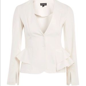 NEW Topshop Ivory Peplum Button Blazer Jacket